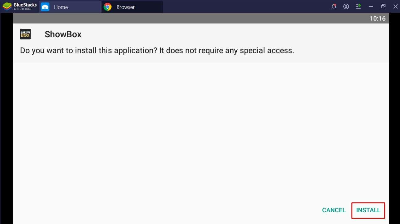 Click Install to Install Showbox Apk in Bluestacks